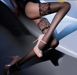 15 denier sheer stockings with lace top