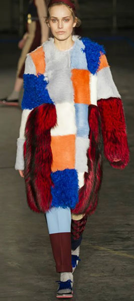 Faux Fur Patchwork Coat