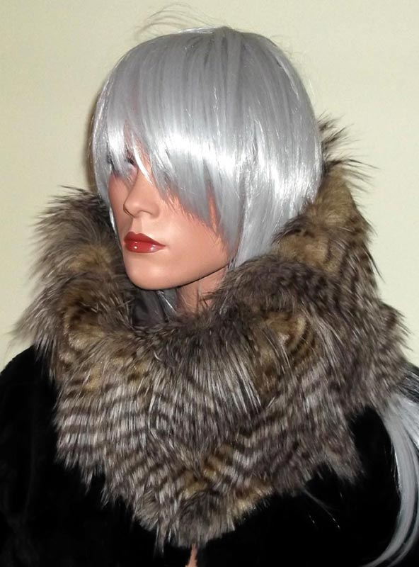 Faux fur snood in Peacock Feather Browns