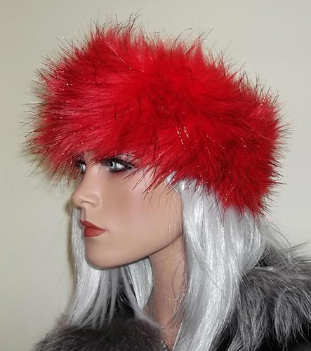 Metallic Red Fur Headband