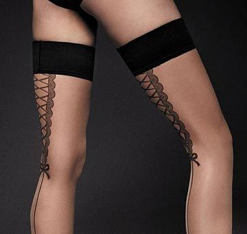 Nude Holdup Stockings with Contrasting Black Seam