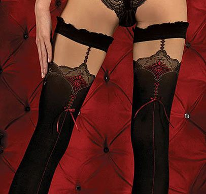 Ballerina 346 Luxury Hold-up Stockings in Black with Red Seams