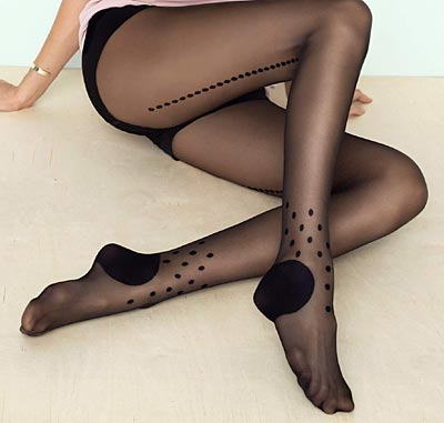 fe0e482c1852c Black Tights with Dotted Seams - Fiore Tricky
