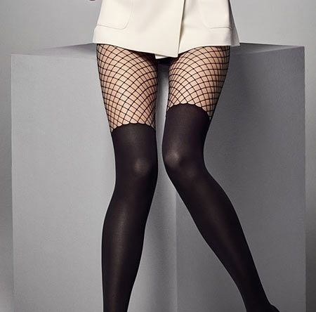 Calzerotto Rete 40 Den Opaque Tights with Fishnet Tops