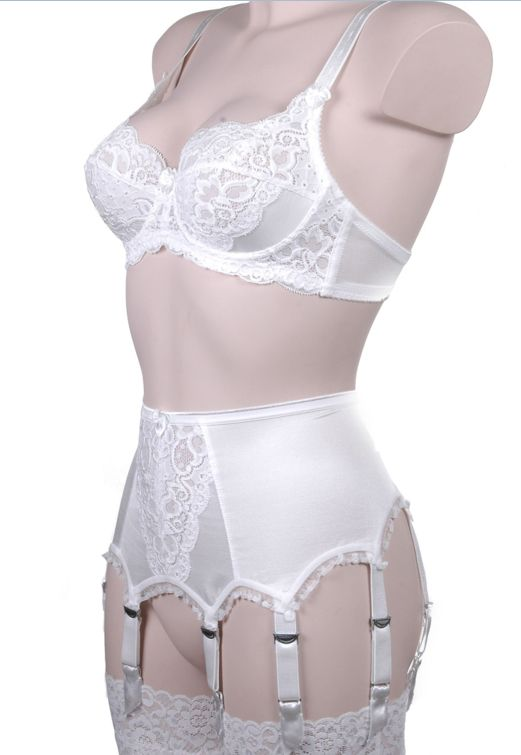 5dd37d41e Cleopatra Capri Lace Front 6 Strap Suspender Belt in Ivory