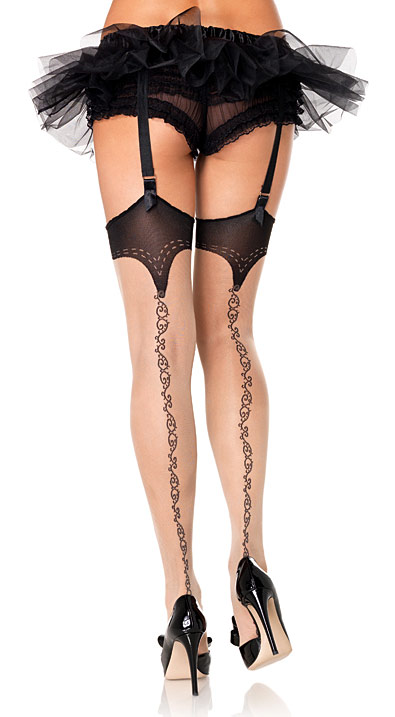 Leg Avenue Sheer Nude Stockings with Black Tops