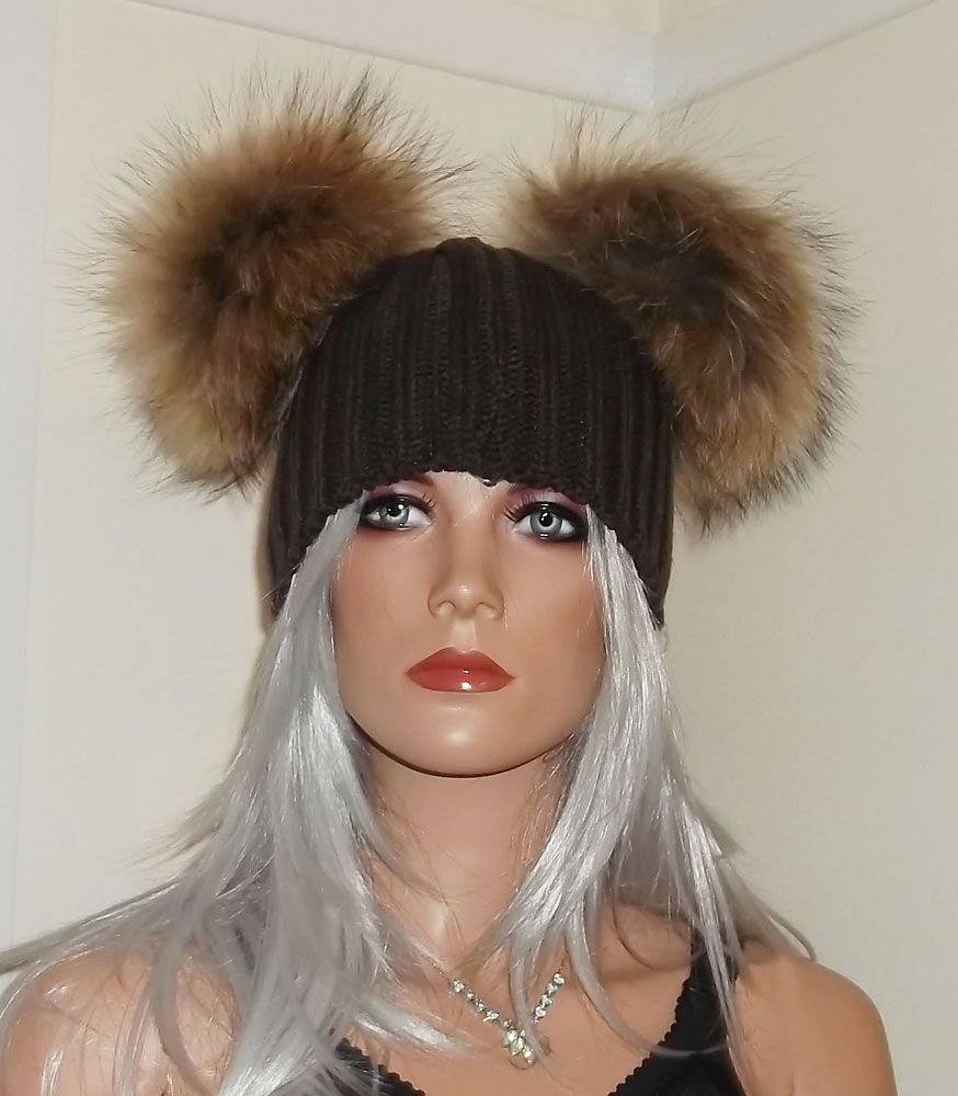 Real Raccoon Fur Pom Beanie Hats with 2 x Large 18cm Poms b87e1ac68c5