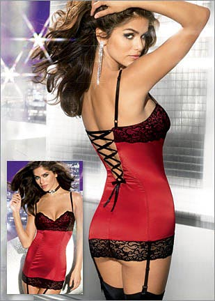 Red Figure Shaping Corselette / slip with Bra & Suspenders