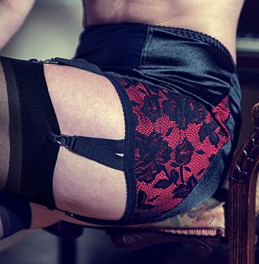 Retro Suspender Girdle in Black with Red Lace Side Panels