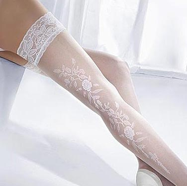 225926128 White Bridal Hold-up Stockings with Floral Pattern Back- Seam
