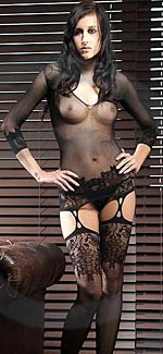 fishnet dress with suspenders & stockings