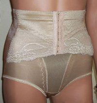 Firm control corset front panty girdle in nude