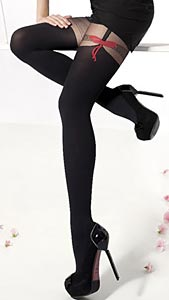 suspender tights with bows by Tespol