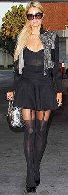Paris Hilton wearing mock suspender tights